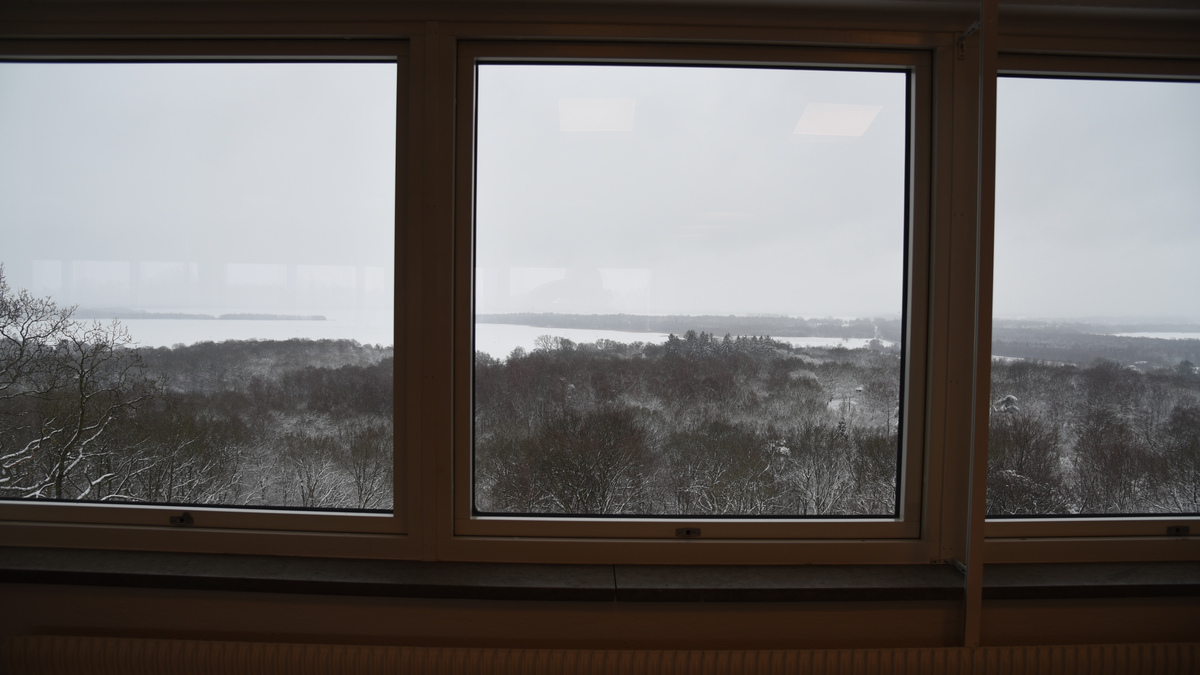 Från fönster syns snöklädda trädtoppar med vackra Ringsjön