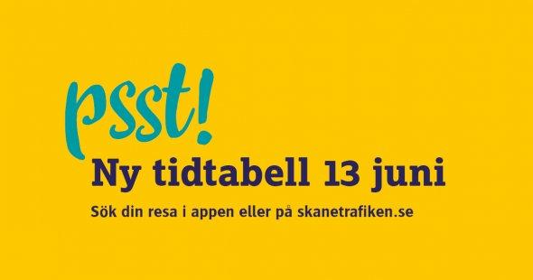 Psst! Ny tidtabell för Skånetrafiken 13 juni