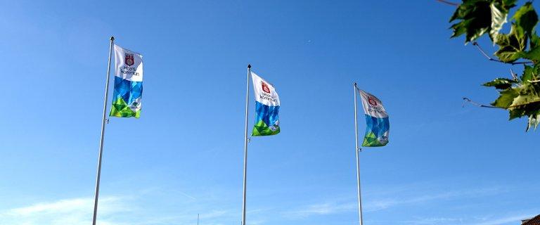 Kommunflaggor mot himlen.