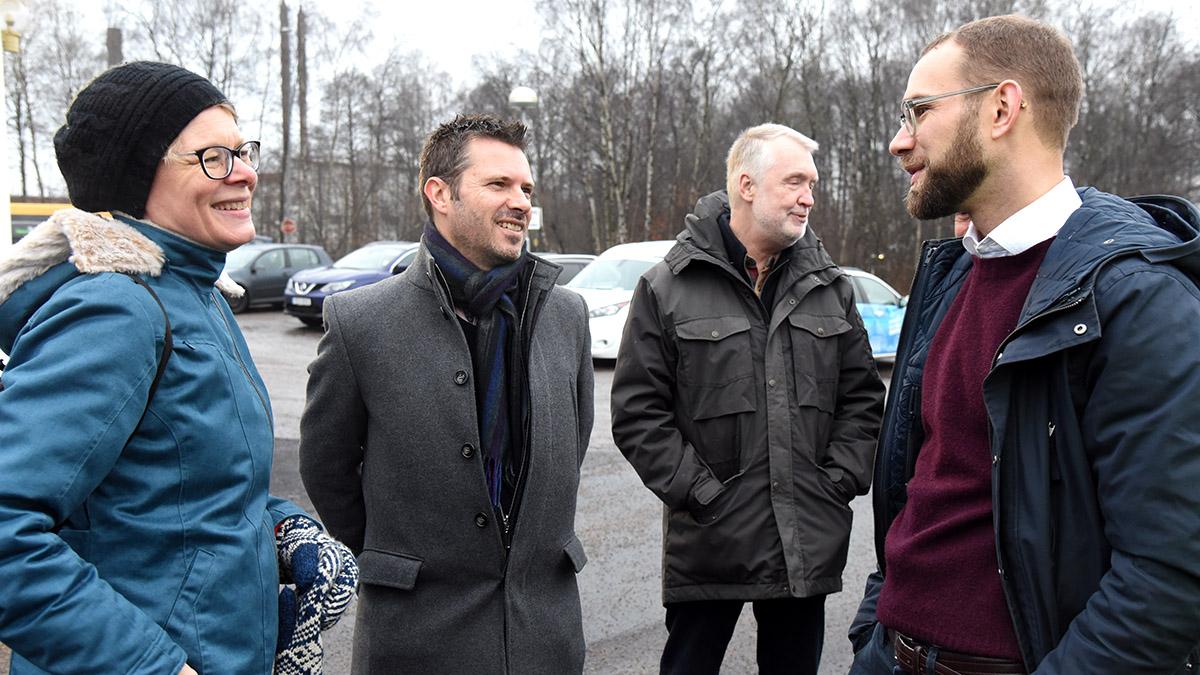 Kommunens miljöstrateg Åsa Abrahamsson, Joakim Aspman från E.ON, Jan Christensson på Hardys och Fredrik Åkesson, E:ON