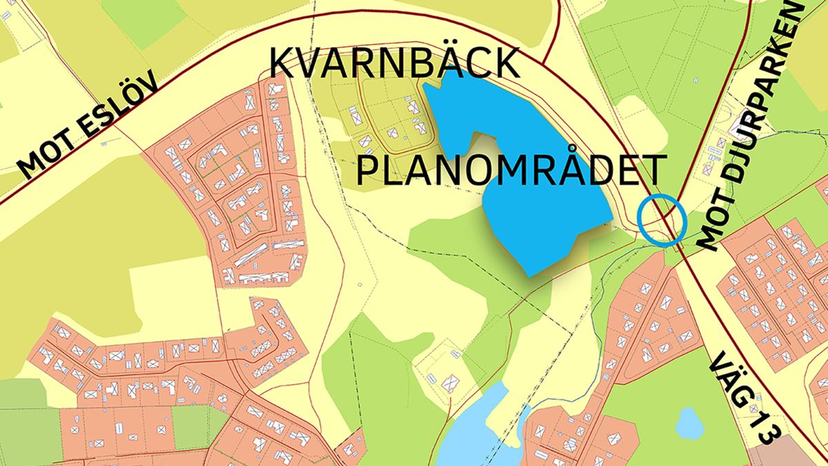 Översiktskarta över planområde Kvarnbäck.