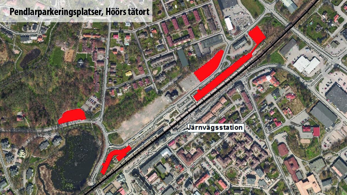 Karta över pendlarparkeringsplatser vid järnvägsstationen