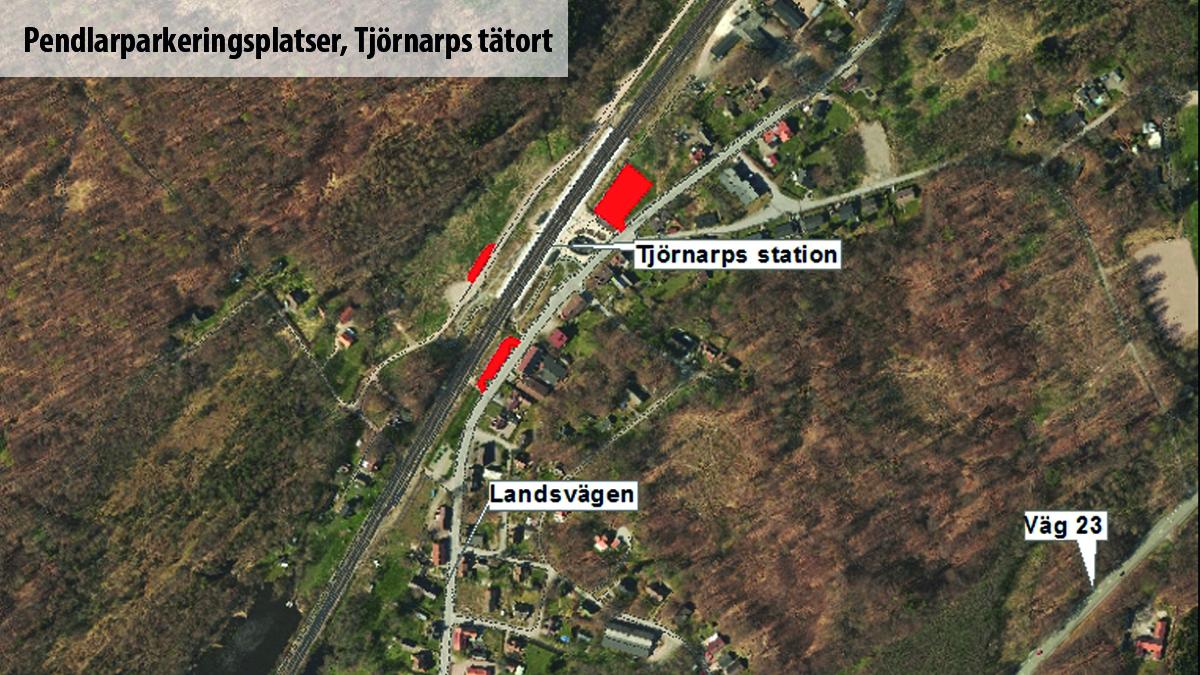 Karta över pendlarparkeringsplatser i Tjörnarp