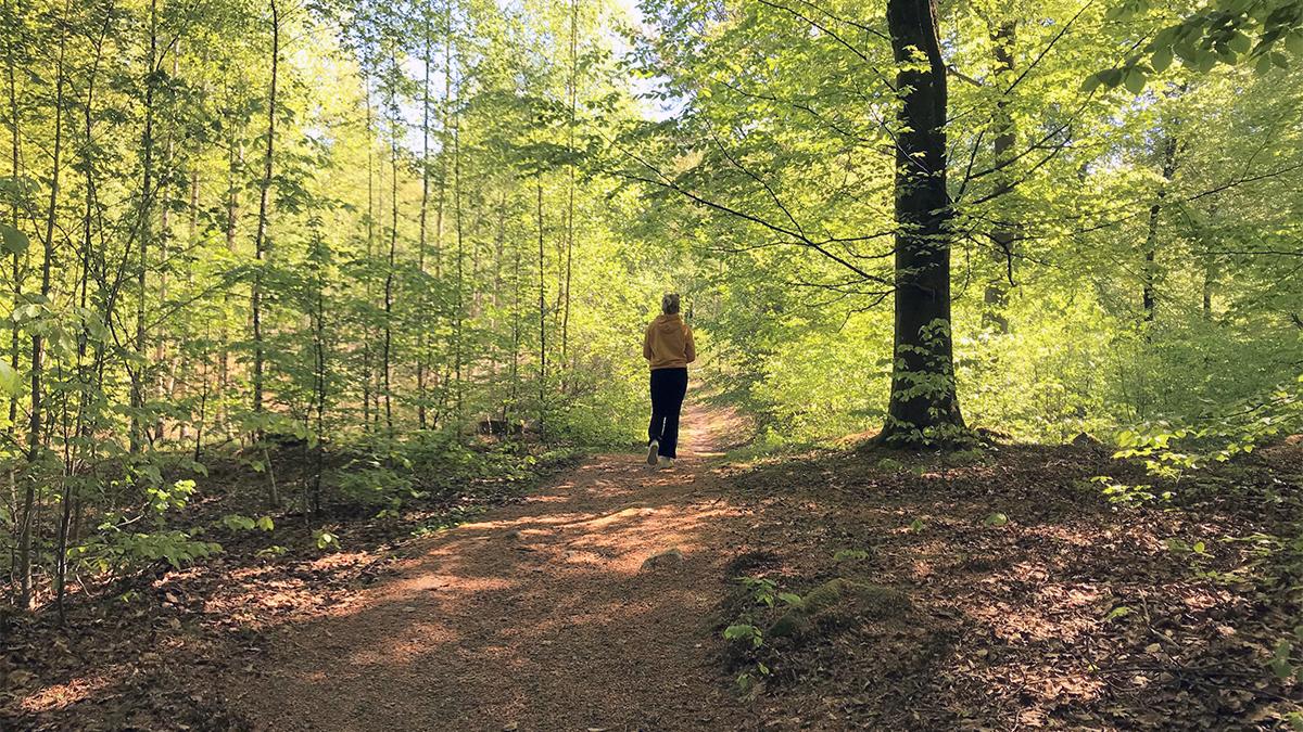 En kvinna som springer på ett spår i skogen.
