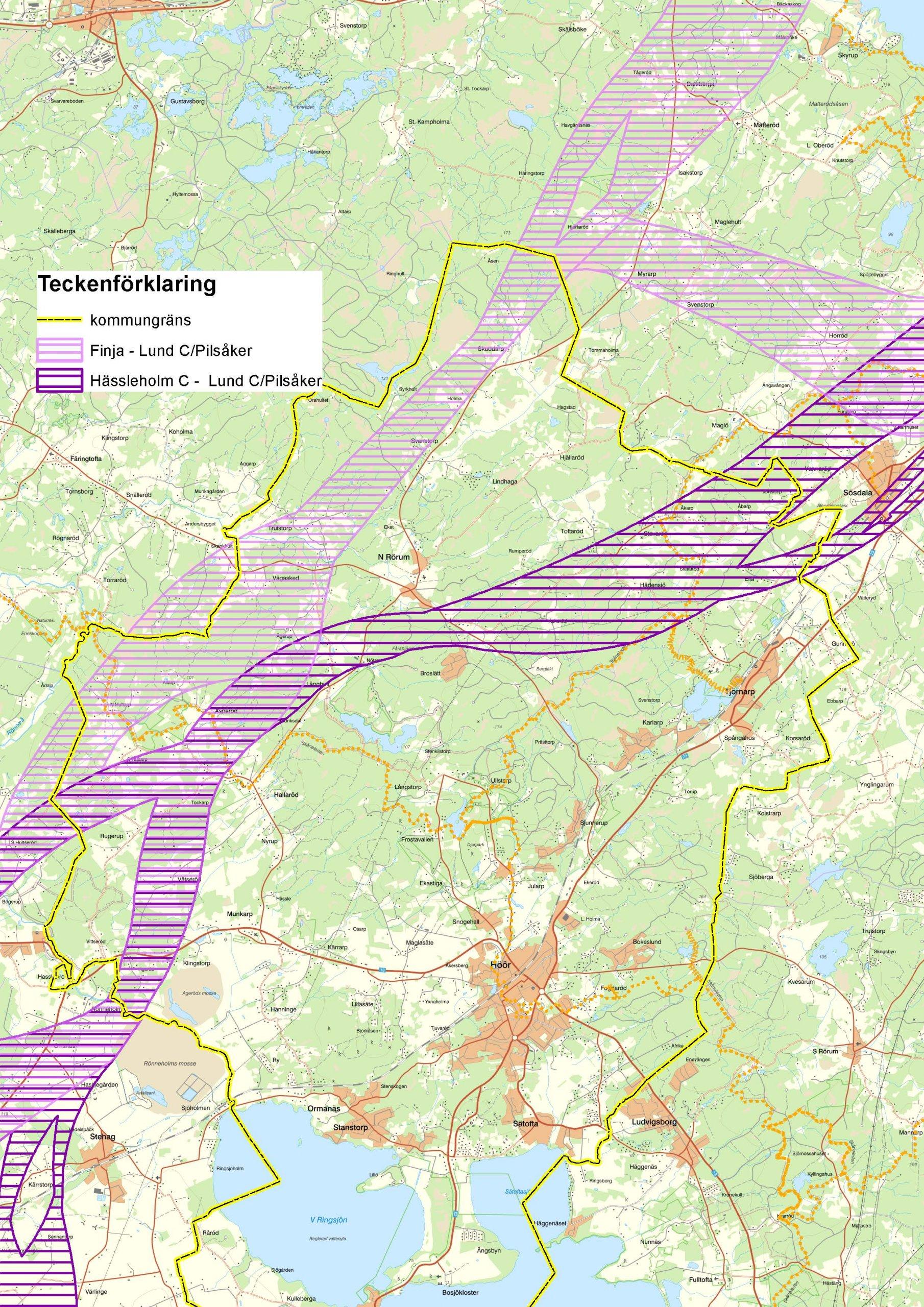 Lokaliseringsalternativ, korridorer, mellan Hässleholm och Lund.