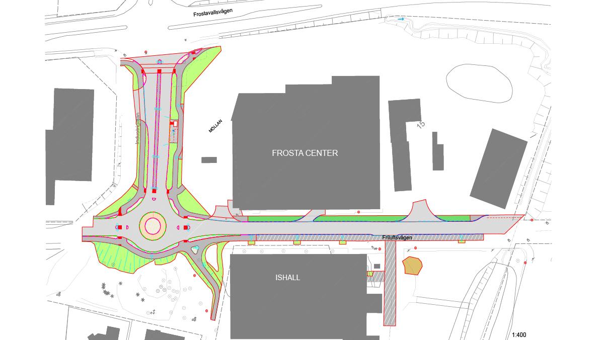 Ritning över området som ska byggas om på Friluftsvägen och Industrigatan.