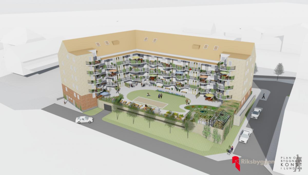 Illustrationsbild av innergård, fasad med balkonger sett från nordväst. Slutresultatet kommer att skilja sig från bilden. Bild: Plan- och Byggnadskonst i Lund.