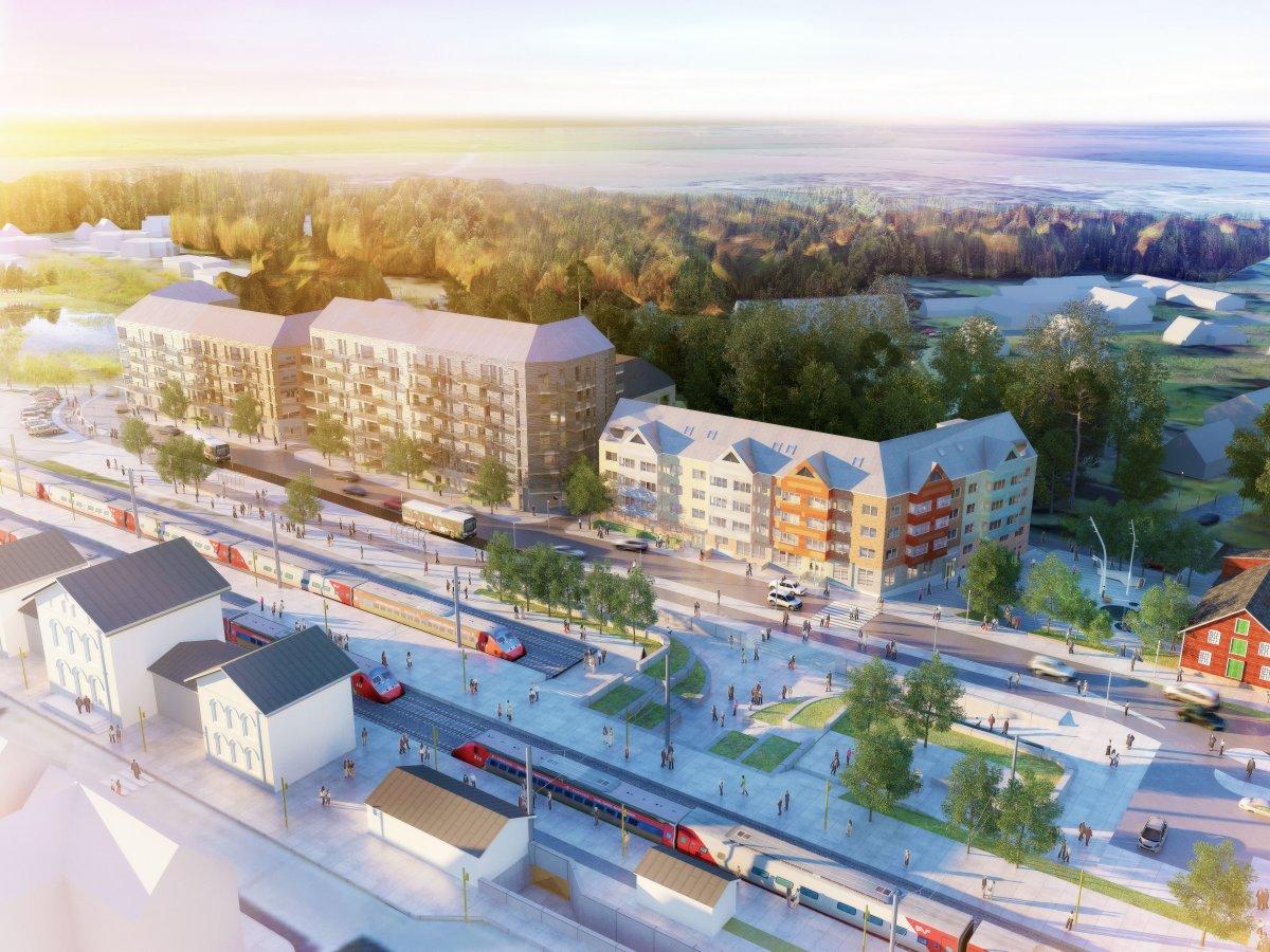 Västra Stationsområdet kommer att få karaktär av småstad, med hus i 3-7 våningar. Bilden är en skiss gjord utifrån förutsättningarna i förslaget till detaljplan. Slutresultatet kommer att skilja sig från bilden. Skiss: Fojab arkitekter