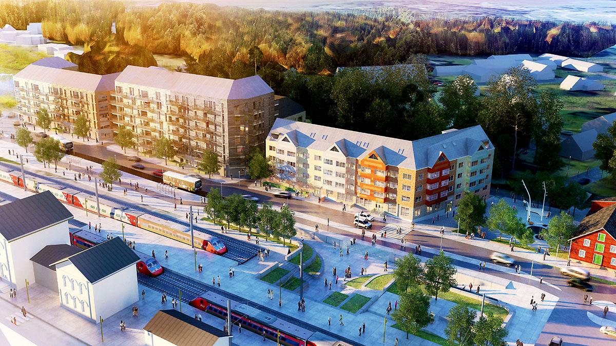 Skiss över planerad bebyggelse på Västra stationsområdet i Höör